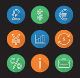 Banking and finance flat linear long shadow icons set. Great Britain pound, US dollar, euro and yen signs, growth chart, money exchange, percentage Royalty Free Stock Photography