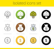 Banking and finance icons icons set. Flat design, linear, black and color styles. Money tree and bag, dollar coin  vector illustrations Royalty Free Stock Photo