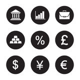 Banking and finance icons set. Bank building, growth chart, briefcase, gold bars, percentage, gbp, us dollar, yen and euro currency symbols. Vector white Stock Image