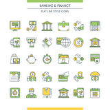 Banking and finance icons set. Modern icons on theme commerce, payments, business and deposits Royalty Free Stock Photos