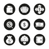 Banking and finance icons set. Purse with banknotes, calculations, money spending, investors search, dollar coin and bills stack, money bag, money tree. Vector Stock Photo
