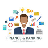 Banking and finance infographic icons concept, smiling man, bank Royalty Free Stock Photos
