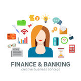 Banking and finance infographic icons concept, woman, bank Royalty Free Stock Photos