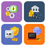 Banking and finance investment icon set. Icon set of banking, deposit interest, online payment, protection of deposit and finance investment on multicolored Royalty Free Stock Photos