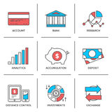 Banking and finance line icons set. Flat line icons set of banking account, financial analytics, currency exchange, money investment and credit card deposit Stock Image