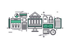 Banking and finance line style illustration Royalty Free Stock Photo