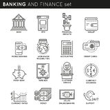 Banking And Finance Linear Icons Set. With customer service and support credit cards accounting isolated vector illustration Royalty Free Stock Photos