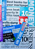 Banking and finance: newspaper cuttings. Stock Photo
