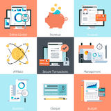 Banking and finance theme, flat style, colorful,  icon set. For info graphics, websites, mobile and print media Stock Image