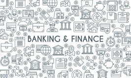 Banking and finance thin line banner. Banking and finance banner. Design template with thin line icons on theme finance, investment, market research, financial Stock Images