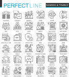 Banking finance thin line web icons set. Money and payments Online shopping Outline stroke icons design. Banking finance thin line web icons set. Money and Stock Photos