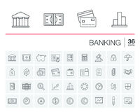 Banking and finance vector icons. Vector thin line icons set and graphic design elements. Illustration with banking and finance outline symbols. Bank, card Royalty Free Stock Photos