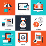 Banking and Finance. Vector set of flat banking and finance icons on following themes - insurance, internet banking, wire transfers, accounting, investment Royalty Free Stock Photos