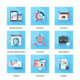 Banking and Finance. Vector set of flat banking and finance icons on following themes - online control, revenue, account, secure transactions, affiliate Royalty Free Stock Photos