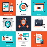 Banking and Finance. Vector set of flat banking and finance icons on following themes - online control, revenue, account, secure transactions, affiliate Stock Image