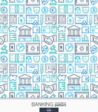 Banking and finance wallpaper. Bank seamless pattern. Tiling textures with integrated thin line web icons set. Vector network illustration. Abstract background Stock Images