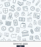 Banking or finance wallpaper. Black and white bank seamless pattern. Royalty Free Stock Images