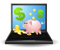 Banking and Finances Online. An illustration featuring a laptop with a piggybank, coins and dollar signs on the top of it to represent financial and banking royalty free illustration