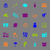 Banking and financial color icons on gray Stock Photo