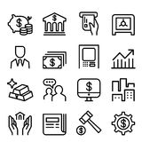 Banking & Financial icon set in thin line style. Banking & Financial icon set in thin line style Graphic design Vector illustration Stock Photo