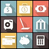 Banking Financial Icons in Flat Design Royalty Free Stock Photo