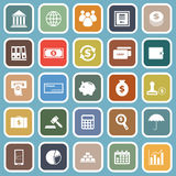 Banking flat icons on blue background Stock Images