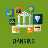 Banking flat infographic design. Banking flat design or infographic with a central bank building encircled with icons showing money, gold bullion, briefcase Stock Images