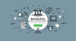 Banking. Flat thin line vector hero banner Stock Photos
