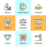 Banking and funding line icons set. Line icons set with flat design elements of financial investment for development business project, mobile banking and Royalty Free Stock Image