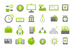 Banking gray-greem vector icons set Stock Photography