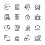 Banking gray line of icons set. Banking and finance gray line of icons set Royalty Free Stock Photo