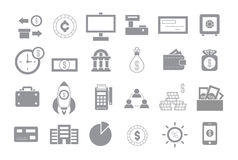 Banking gray vector icons set Stock Images