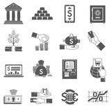 Banking Icon Black Set. Banking finance and investment icon black set isolated vector illustration Royalty Free Stock Photography