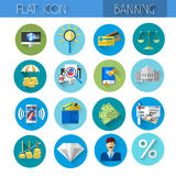Banking Icon Set Colorful Collection. Flat Vector Illustration Royalty Free Stock Photography