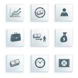 Banking icon set on a gray background effect paper Stock Images
