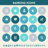 Banking icon set. Multicolored flat buttons Royalty Free Stock Photography