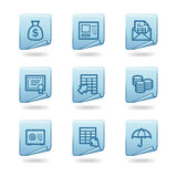 Banking icons. Vector web icons, blue sticker series, V2 Royalty Free Stock Image
