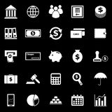 Banking icons on black background Stock Images