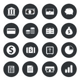 Banking Icons on black circle. Vector illustration Royalty Free Stock Images
