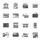 Banking Icons Black Set. With cash check investment symbols isolated vector illustration Royalty Free Stock Photography