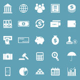 Banking icons on blue background Royalty Free Stock Photo