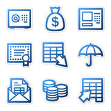 Banking icons, blue contour Stock Images