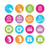 Banking icons. Collection of 16 banking icons in colorful buttons Stock Photos