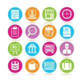 Banking icons. Collection of 16 banking icons in colorful buttons Royalty Free Stock Photography