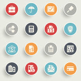 Banking icons with color buttons on gray background. Royalty Free Stock Photography