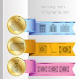 Banking icons, colored infographic ribbons. Financial banking icons with graphs.  Colorful banners - ribbons. Elements  for infographics, graphic design or web Stock Photo