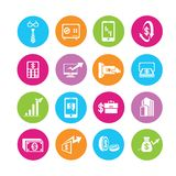 Banking icons. Financial management icons in colorful round buttons Stock Photography