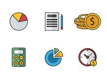 Banking icons. Illustrated icons on the theme of banking and finance, various flat style Royalty Free Stock Images
