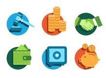 Banking icons. Illustrated icons on the theme of banking and finance, various flat style Stock Images