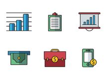 Banking icons. Illustrated icons on the theme of banking and finance, various flat style Royalty Free Stock Photography